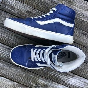 Vans, classic blue leather sneakers